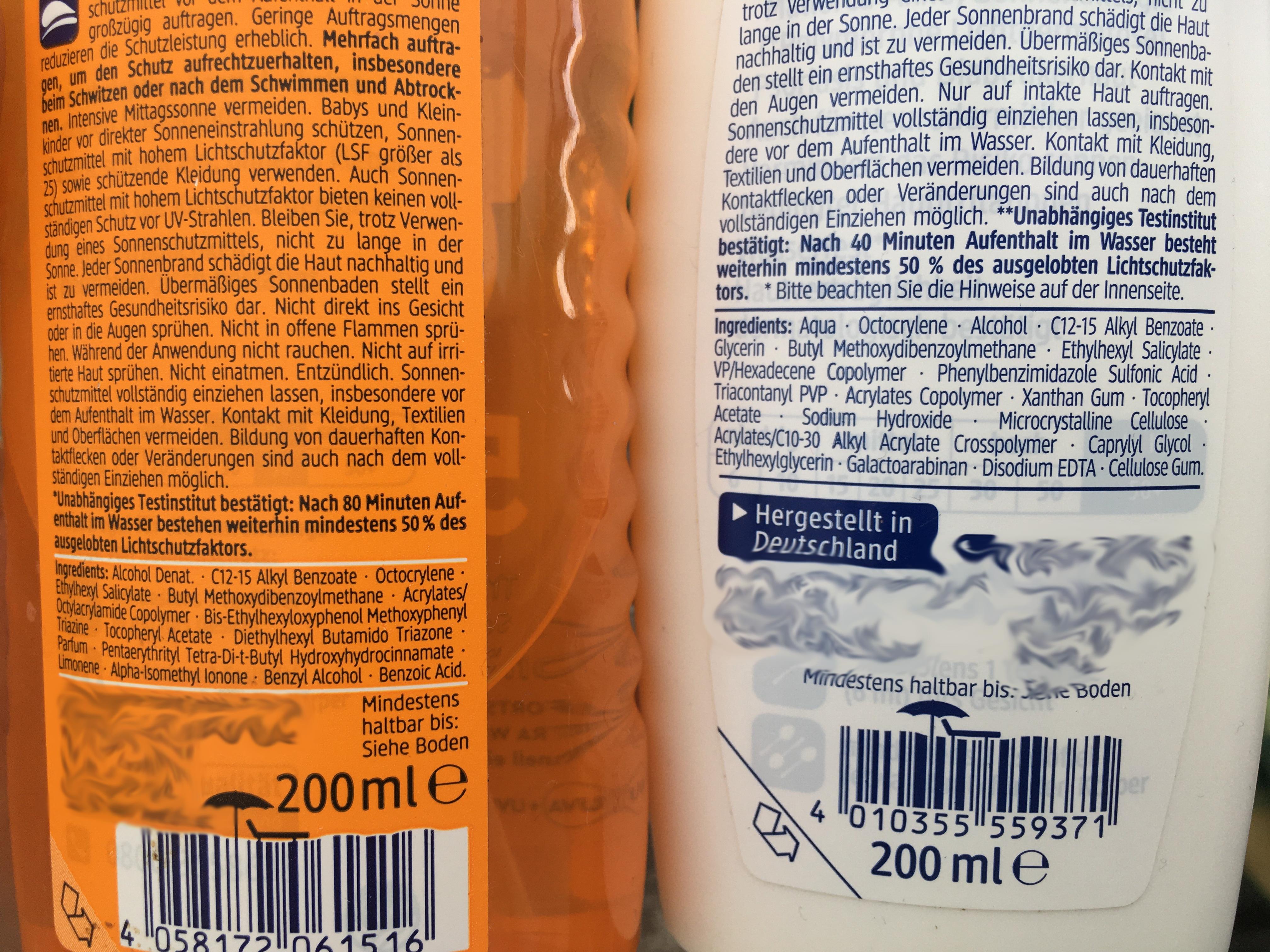 Inhaltsstoffe Sonnenmilch